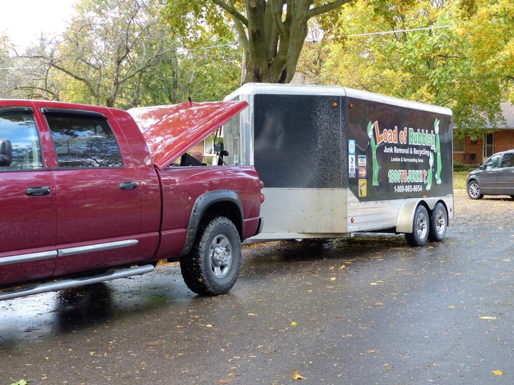 With our covered trailer, we can protect items that will be donated to charity